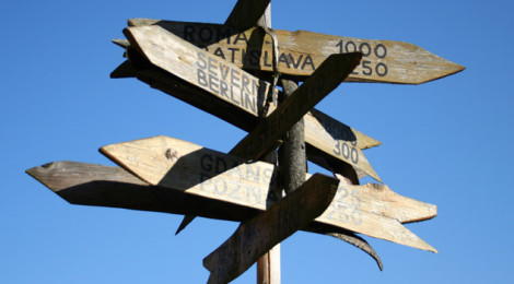 A wooden signpost with several arrow-shaped plaques pointing in different directions and indicating the names of and distances to cities.