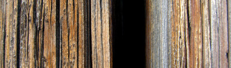 Close-up image of wooden slats, perhaps on a building.