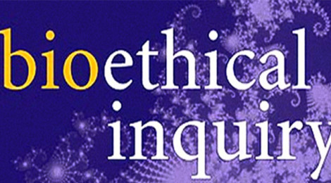 """Close-up of the cover of the Journal of Bioethical Inquiry, with the words """"bioethical inquiry"""" in front of a fractal (in purple)."""