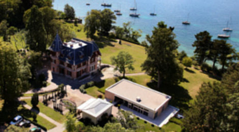 Aerial view of the Brocher Foundation on the shores of Lake Geneva.